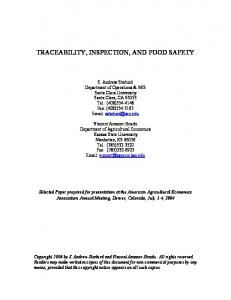traceability, inspection, and food safety - AgEcon Search