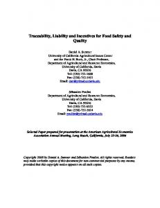 Traceability, Liability and Incentives for Food Safety ... - AgEcon Search