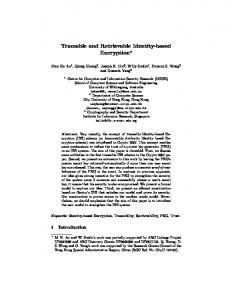 Traceable and Retrievable Identity-based Encryption - Semantic Scholar