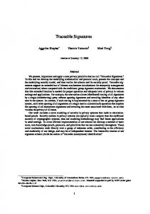 Traceable Signatures - Cryptology ePrint Archive