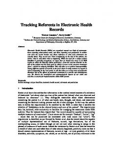 Tracking Referents in Electronic Health Records - CiteSeerX
