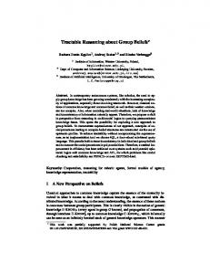 Tractable Reasoning about Group Beliefs - Semantic Scholar