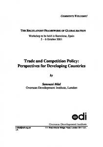 Trade and Competition Policy: Perspectives for ... - CiteSeerX