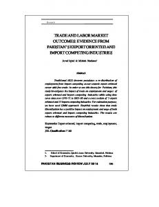 trade and labor market outcomes: evidence from pakistan's export ...