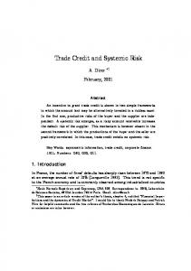 Trade Credit and Systemic Risk - CiteSeerX