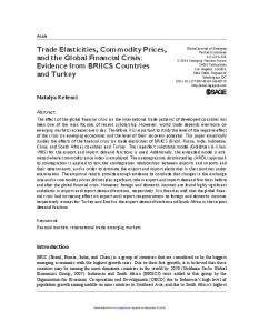 Trade Elasticities, Commodity Prices, and the Global