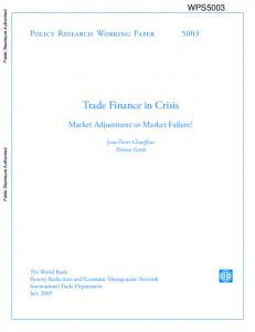 Trade Finance in Crisis - World bank documents - World Bank Group