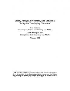 Trade, Foreign Investment, and Industrial Policy for ... - Semantic Scholar