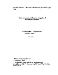Trade, Investment and Economic Integration of South Korea and ...
