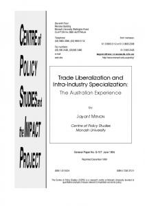 Trade Liberalization and Intra-Industry Specialization: