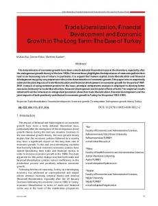Trade Liberalization, Financial Development and Economic ... - Sciendo