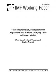 Trade Liberalization, Macroeconomic Adjustment, and ... - SSRN papers