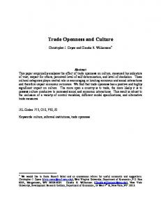 Trade Openness and Culture - CiteSeerX