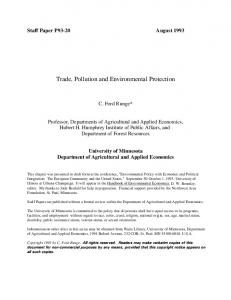 Trade, Pollution and Environmental Protection - AgEcon Search