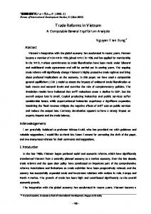 Trade Reforms in Vietnam A Computable General Equilibrium Analysis