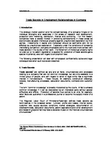 Trade Secrets in Employment Relationships in Germany