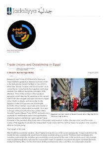 Trade Unions and Dictatorship in Egypt