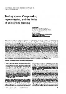 Trading spaces: Computation, representation, and the ... - CiteSeerX