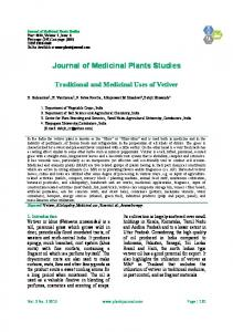 Traditional And Medicinal Uses of Vetiver - Journal of Medicinal Plants