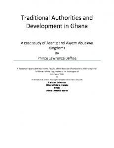 Traditional Authorities and Development in Ghana