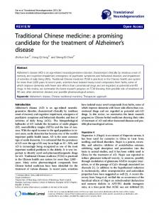 Traditional Chinese medicine: a promising candidate ... - BioMedSearch