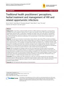 Traditional health practitioners' perceptions, herbal treatment and ...