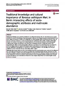 Traditional knowledge and cultural importance of Borassus aethiopum ...