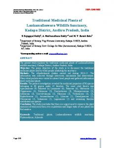 Traditional Medicinal Plants of Lankamalleswara Wildlife ... - iMedPub