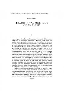 TRADITIONAL METHODS OF ANALYSIS
