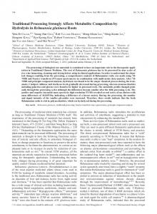 Traditional Processing Strongly Affects Metabolite Composition by ...