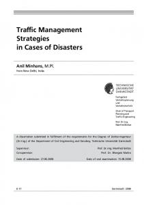 Traffic Management in cases of Disasters