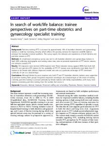 trainee perspectives on part-time obstetrics and gynaecology