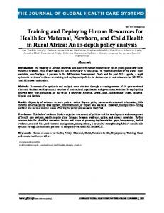 Training and Deploying Human Resources for Health for Maternal ...