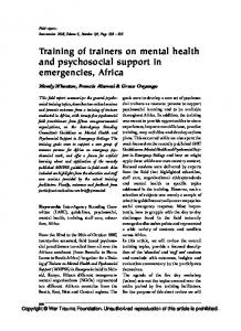 Training of trainers on mental health and psychosocial support in ...