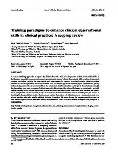 Training paradigms to enhance clinical observational ... - Sciedu Press