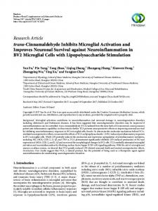 trans-Cinnamaldehyde Inhibits Microglial Activation and Improves ...