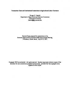 Transaction Costs and Institutional Innovations in ... - AgEcon Search