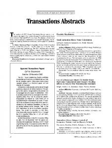 Transactions Abstracts - IEEE Xplore