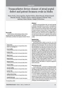 Transcatheter device closure of atrial septal defect and patent ... - Core