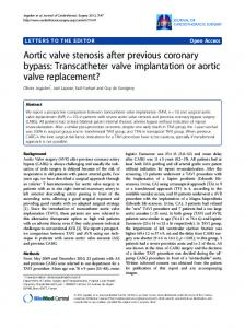 Transcatheter valve implantation or aortic valve replacement?