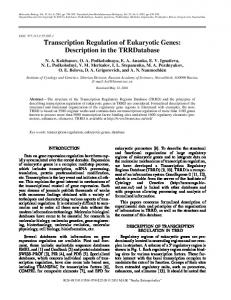 Transcription Regulation of Eukaryotic Genes - Springer Link
