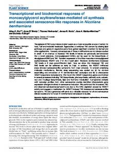 Transcriptional and biochemical responses of monoacylglycerol