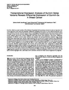 Transcriptional Expression Analysis of Survivin Splice Variants ...