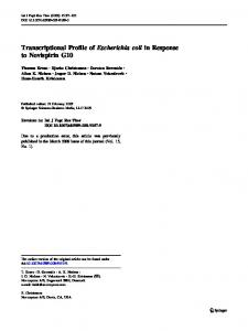 Transcriptional Profile of Escherichia coli in Response ... - Springer Link