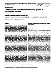 Transcriptional regulation of secondary growth in ... - Oxford Academic