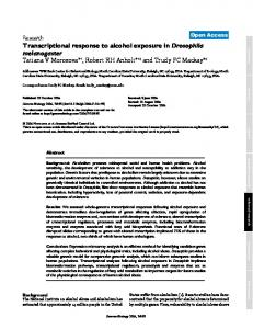 Transcriptional response to alcohol exposure inDrosophila ...