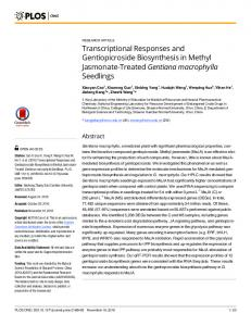 Transcriptional Responses and Gentiopicroside