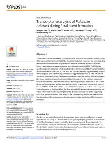 Transcriptome analysis of Polianthes tuberosa during floral ... - PLOS
