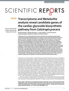 Transcriptome and Metabolite analysis reveal candidate ... - Nature