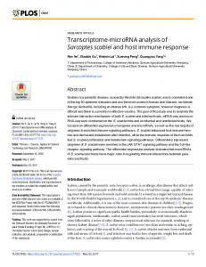 Transcriptome-microRNA analysis of Sarcoptes scabiei and ... - PLOS